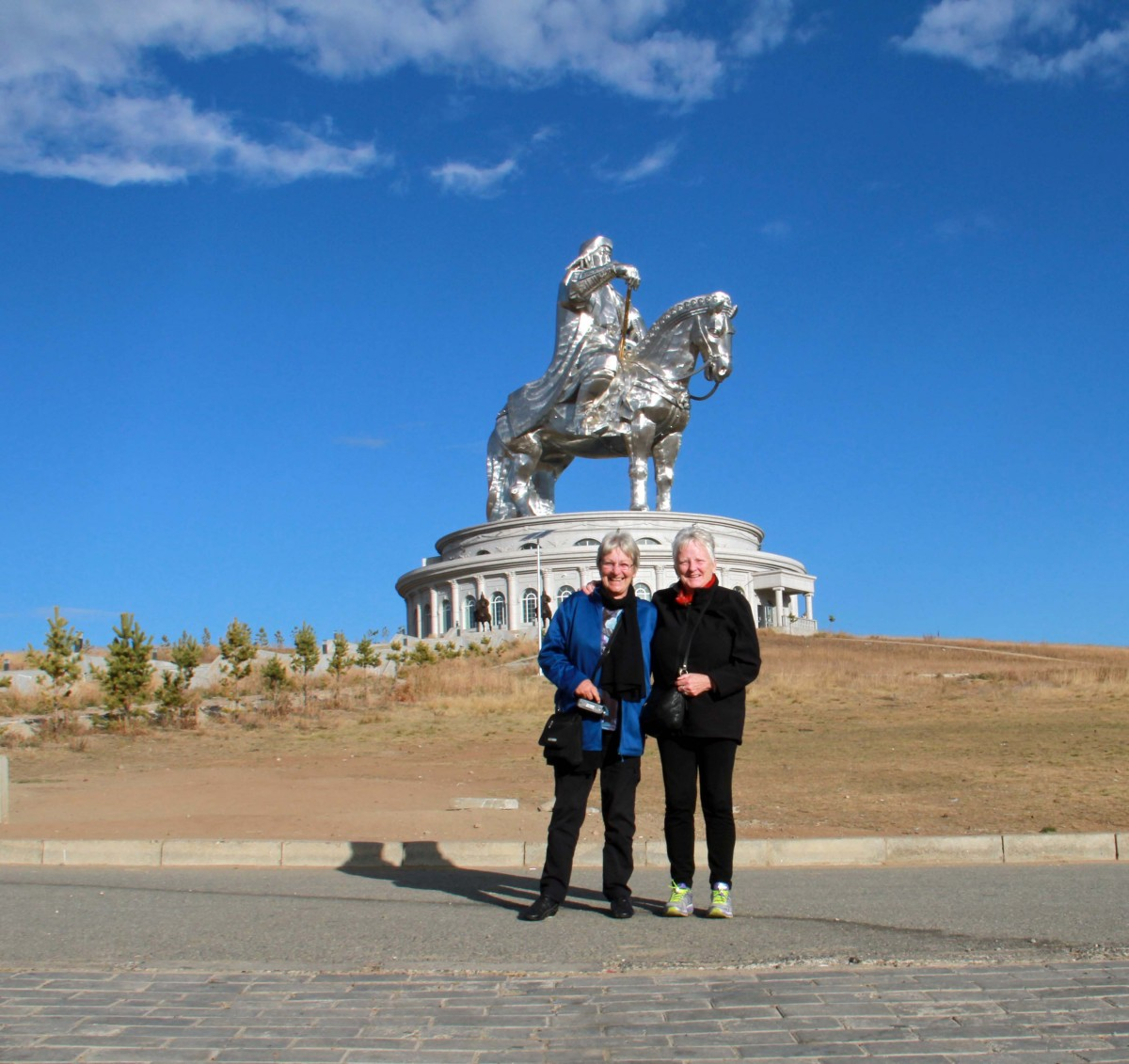 In front of the massive statue of Gengis Kahn